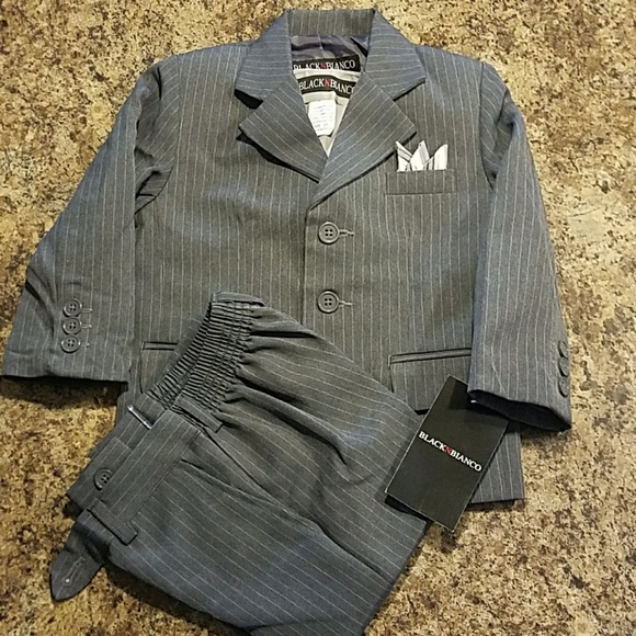 f7b2dc90432f0f Black N Bianco Other | Toddler 2t Pinstriped Suit Wvest And Tie ...